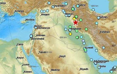 Potres u Iraku (Foto: EMSC)