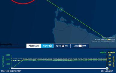 Ruta leta zabilježena na stranici FlightAware (Foto: screenshot/FlightAware)