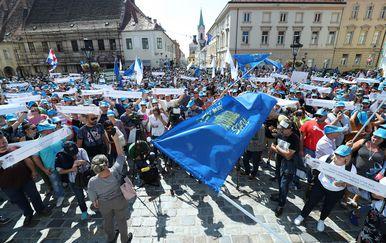 Prosvjed prosvjetara (Foto: Sanjin Strukić/PIXSELL)