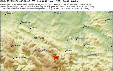 Novi potres u BiH (Foto: EMSC)