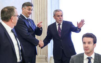 Andrej Plenković i Milan Bandić na sastanku u Banskim dvorima (Foto: Luka Stanzl/PIXSELL)