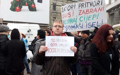 Prosvjed na Trgu bana Jelačića u Zagrebu