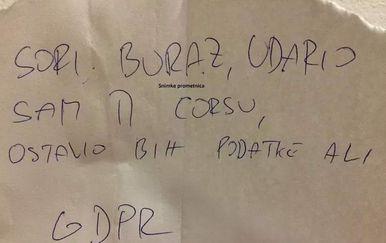 Poruka (Foto: Facebook)