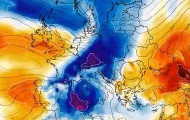 Prvi udar hladnoće stiže u noći s ponedjeljka na utorak (Foto: Severe Weather Europe)