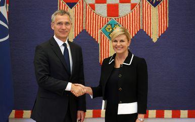 Jens Stoltenberg i Kolinda Grabar-Kitarović (Foto: Robert Anic/PIXSELL)