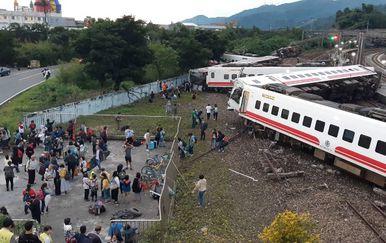 Željeznička nesreća na Tajvanu (Foto: AFP)