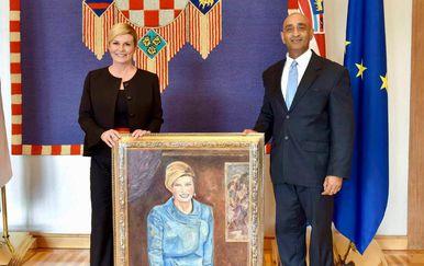 Indijski veleposlanik u Hrvatskoj poklanja sliku predsjednici Kolindi Grabar-Kitarović (Foto: India in Croatia (Embassy of India, Zagreb)/Facebook)