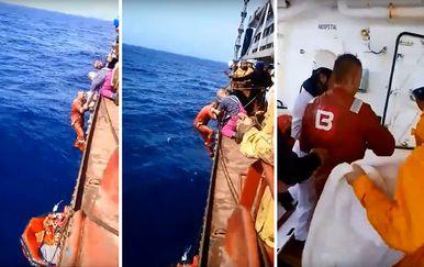 Spašavanje ukrajinskih i ruskog pomorca s Bourbon Rhodea (Foto: screenshot)
