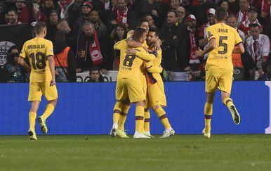 Lionel Messi slavi sa suigračima (Foto: AFP)
