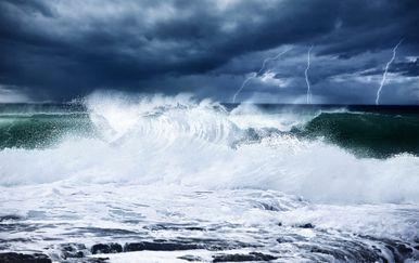 Nevrijeme na moru, ilustracija