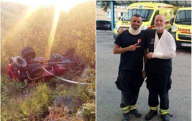 U prevrtanju cisterne kod Kule Norinske lakše ozlijeđena dvojica vatrogasaca (Foto: metkovic-news.com)