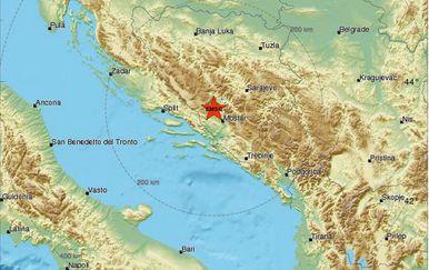 Potres zatresao Dalmaciju i BiH (Screenshot: EMSC)