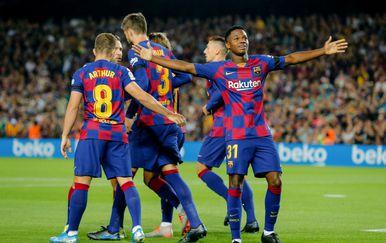 Ansu Fati slavi pogodak za barcelonu