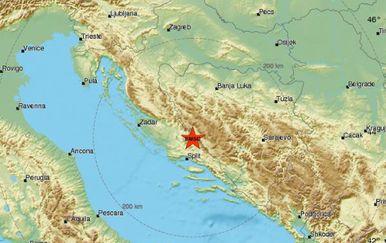 Potres pogodio BiH (Foto: EMSC)