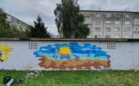 Graffit posvećen ljetu (fotografirano sa Samsung Galaxy Note10+ širokokutnim objektivom)