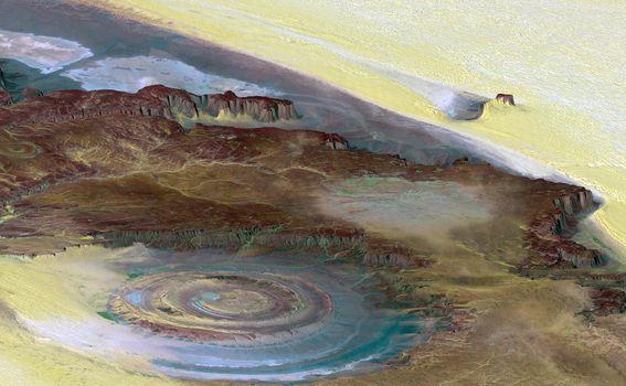 Pogled na Strukturu Richat / Oko Sahare iz svemira (Foto: Arhiva/AFP)