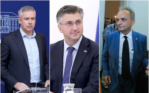 Darinko Kosor, Andrej Plenković, i Branimir Glavaš (Foto: Patrik Macek/Davor Javorovic/PIXSELL)