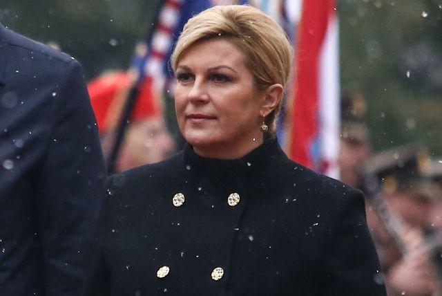 Kolinda Grabar-Kitarović u \'generalskom\' kaputu za susret s predsjednikom Srbije Aleksandrom Vučićem - 4