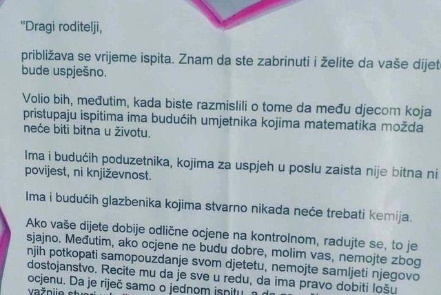 Jedan ravnatelj škole napisao je pismo roditeljima koje je postalo viralno