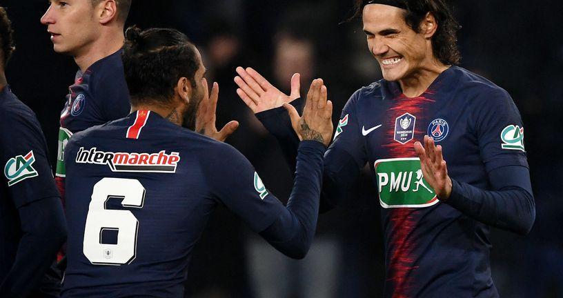 Dani Alves i Edinson Cavani (foto: AFP)