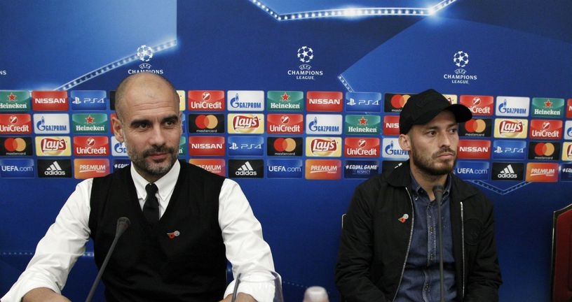 Pep Guardiola i David Silva (Foto: AFP)