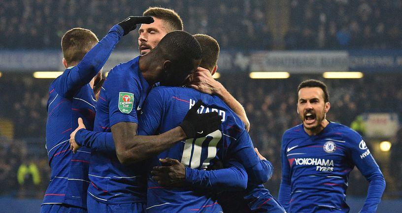 Eden Hazard i igrači Chelseaja slave pogodak (Foto: AFP)