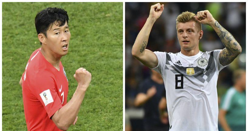 Toni Kroos vs Son Min (Foto: AFP)