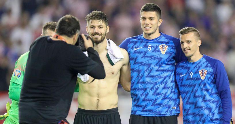 Bruno Petković, Dino Perić i Mislav Oršić (Photo: Slavko Midzor/PIXSELL)