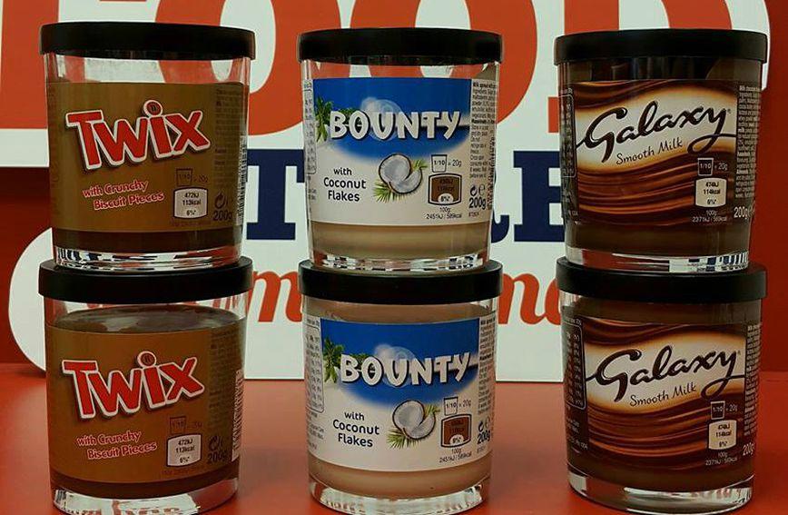Twix namaz s komadićima keksa, Bounty namaz sa sitnim čipsom od kokosa ili Galaxy namaz od mliječne čokolade izbor je na vama