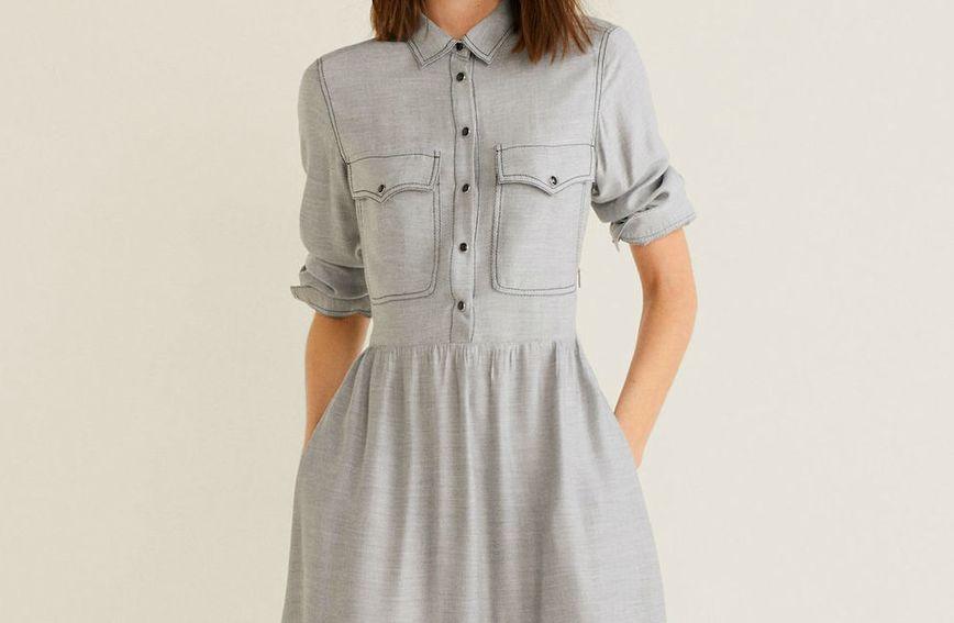 Džepovi na bokovima haljine vizualno smanjuju struk