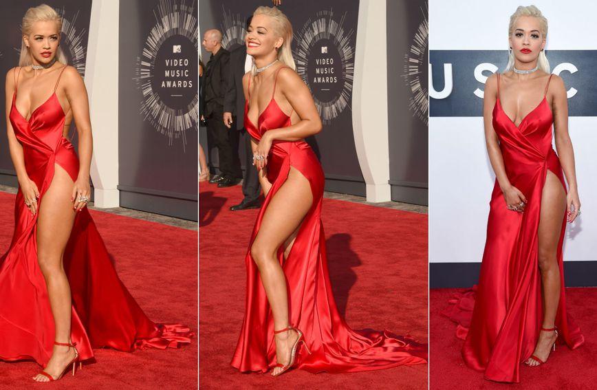 Pjevačica Rita Ora morala je paziti da crvena haljina ne otkrije previše