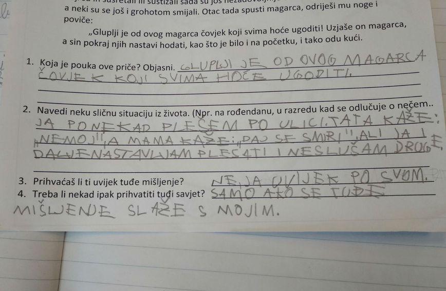 Duhoviti i iskreni odgovori djevojčice Hane na pitanja iz lektire