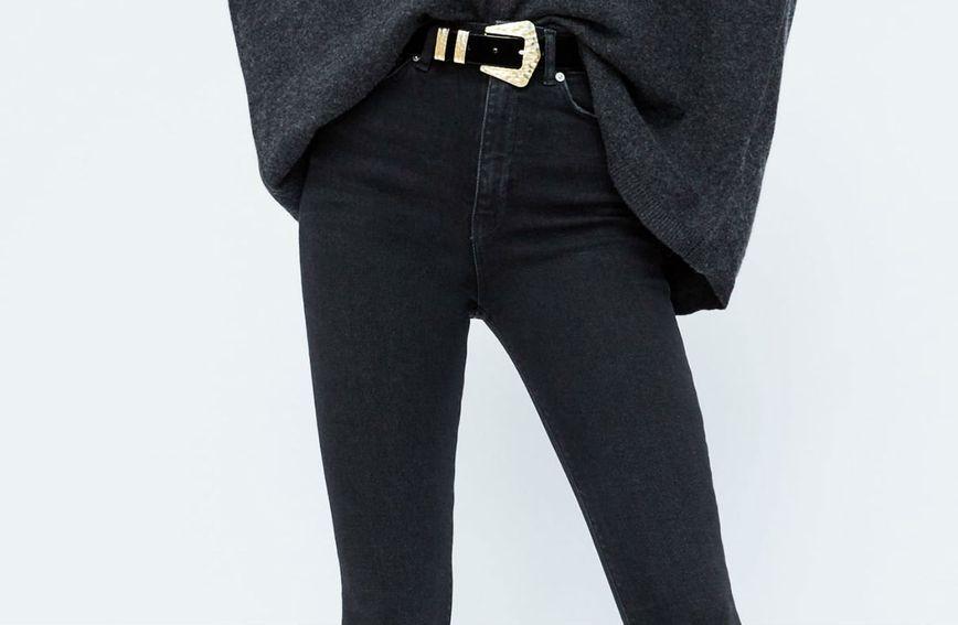 Crne traperice visokog struka vizualno smanjuju trbuh i produžuju noge
