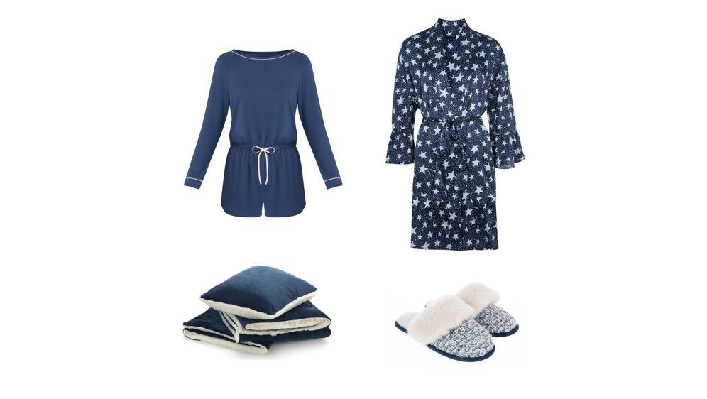 Pidžama (Palmers, 531 kn), ogrtač (Topshop, 260 kn), papuče (Accessorize, 155 kn) i set deke i jastuka (Dormeo, 199,95 kn na popustu)