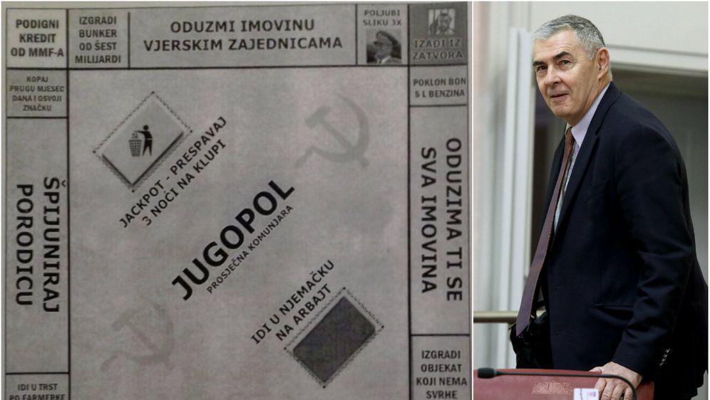 Željko Glasnović i igra koju je podijelio novinarima u Saboru (Foto: Dnevnik.hr/Patrik Macek/PIXSELL)