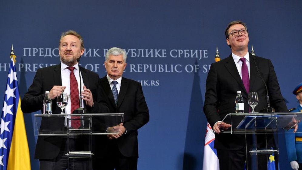 Izetbegović, Vučić i Čović na zajedničkom sastanku (Foto: AFP)