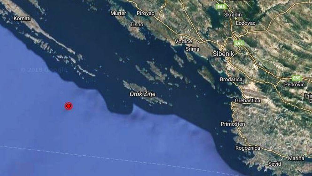 Potres nedaleko od Šibenika (Foto: EMSC)