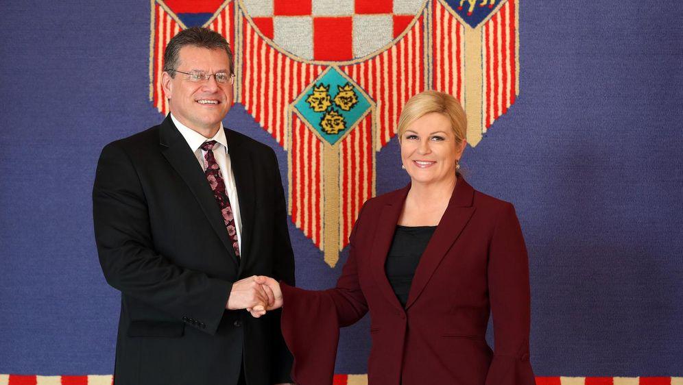 Predsjednica Kolinda Grabar Kitarović primila u službeni posjet Maroša Šefčoviča (Foto: Robert Anic/PIXSELL)