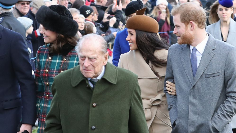 Princ Philip, princ Harry i Meghan Markle (Foto: Getty Images)