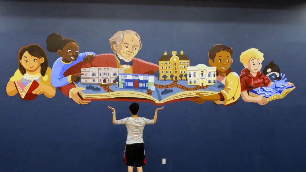 Mural za Georgea Peabodyja u osnovnoj školi u San Franciscu (Screenshot: YouTube)