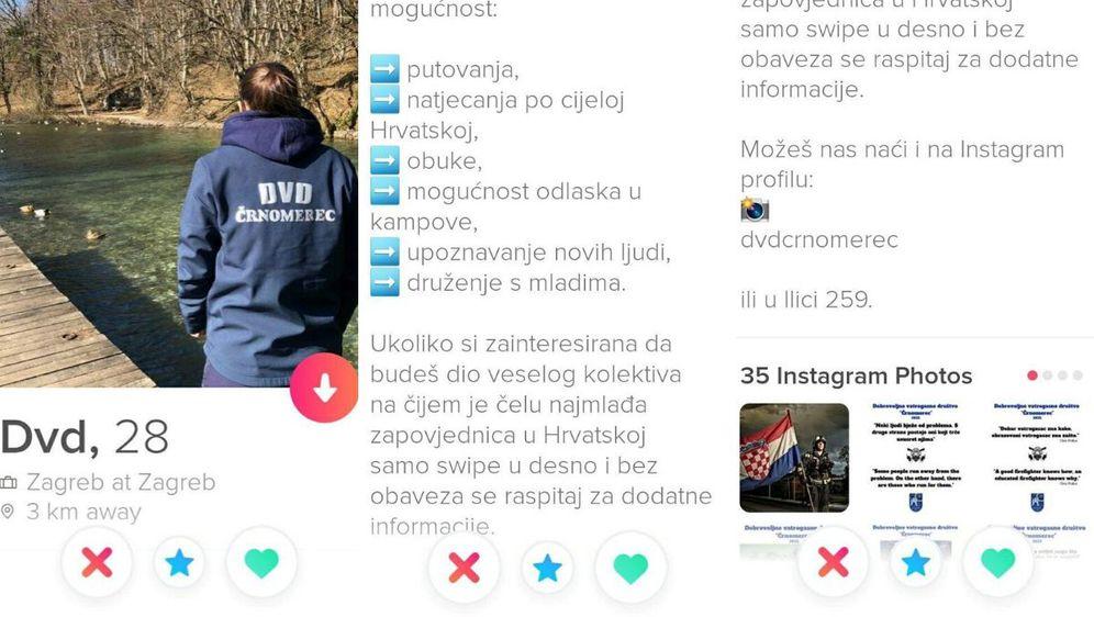 DVD Črnomerec članove traži na Tinderu (FOTO: Screenshot/Tinder)