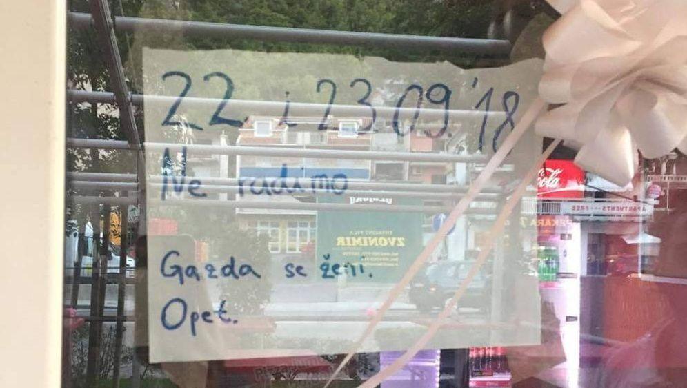 Obavijest (Foto: Facebook/Dnevna doza prosječnog Dalmatinca)